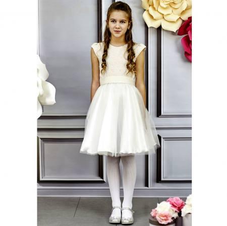 Mädchen Kleid Hochzet Jugendweihe Tüll Weiß Gold