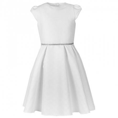 Mädchen Kleid Festlich Hochzeit Kommunion Strass Weiß