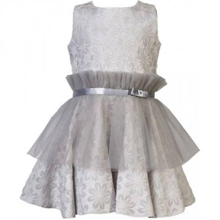 Mädchen Kleid Hochzeit Einschulung Jugendweihe Grau