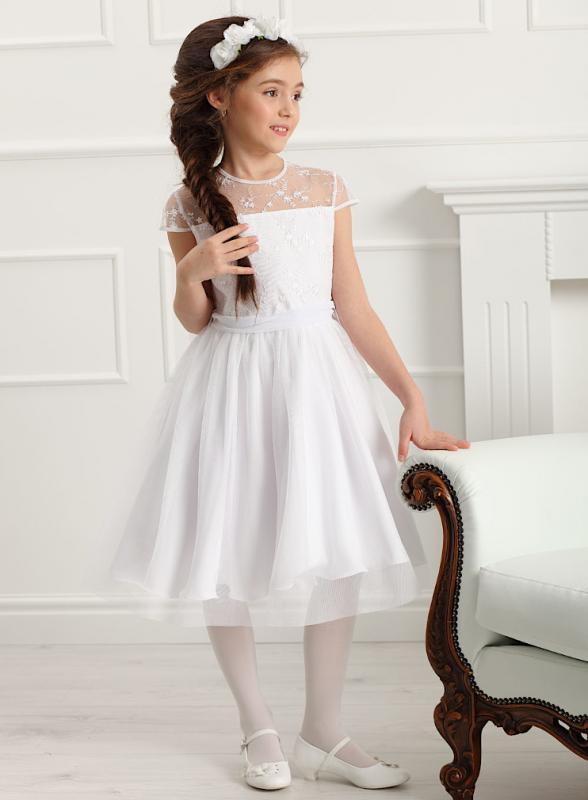 Mädchen Kleid Festlich Kommunion Blumenmädchen weiß