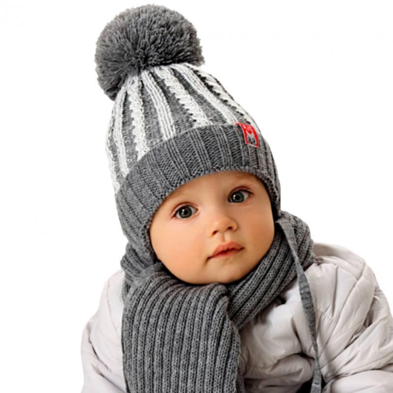 AJS Jungen Kinder Winterset Kindermütze Wintermütze gefüttert Schal mit Wolle