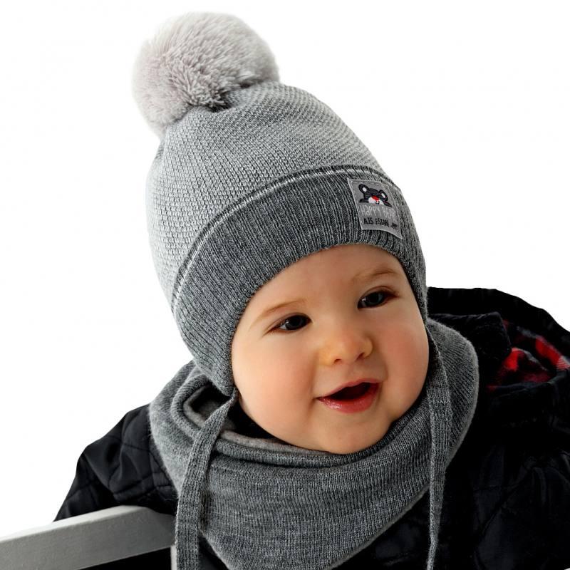 AJS Baby Jungen Set Winterset Wintermütze Strickmütze Halstuch mit Wolle