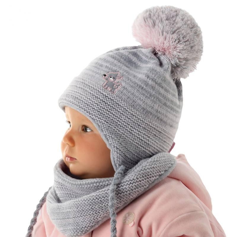 a2340f6dad AJS Baby Mädchen Kinder Winterset Wintermütze Strickmütze Halstuch mit Wolle