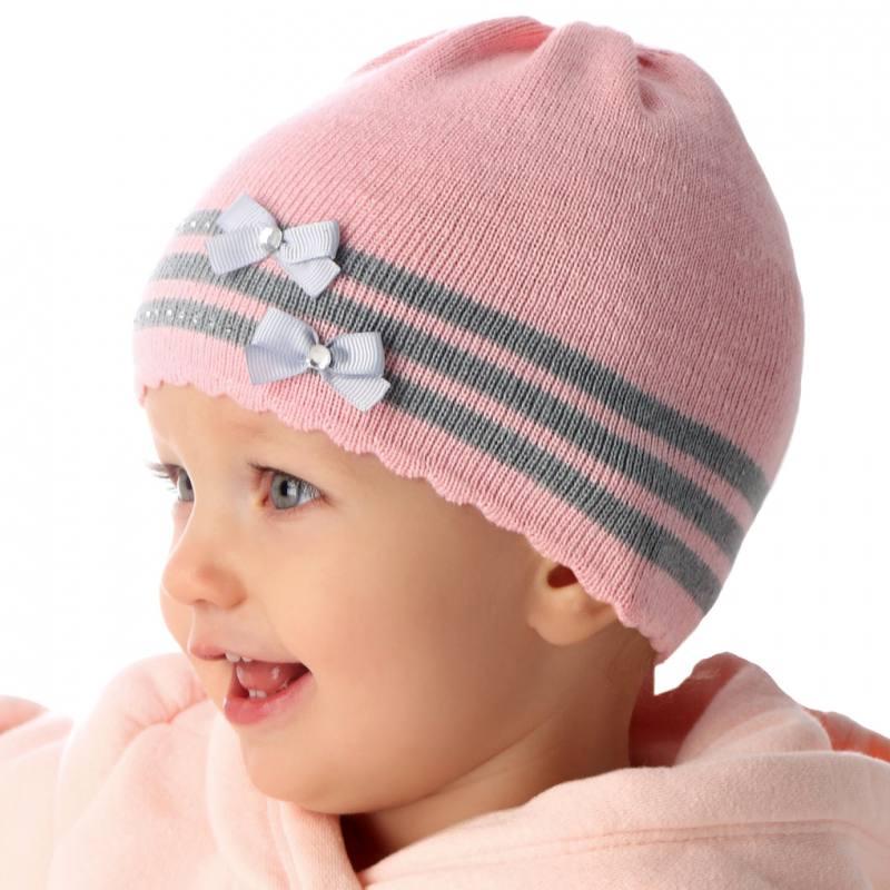 AJS Baby Mädchen Mütze Strickmütze Schleifen Taufe Frühling Sommer