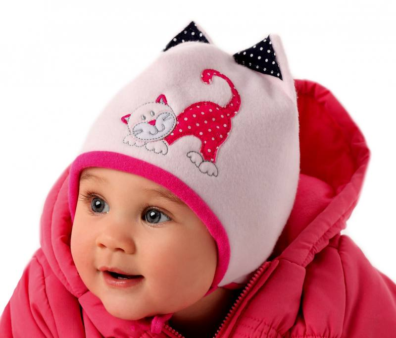 ajs baby m dchen warme winter m tze mit katze gef ttert rosa pink. Black Bedroom Furniture Sets. Home Design Ideas