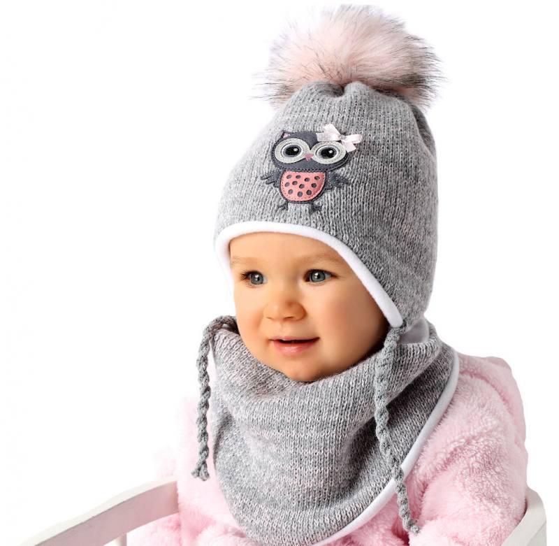 Ajs Baby Kinder Mädchen Winterset Wintermütze Mütze Eule Halstuch