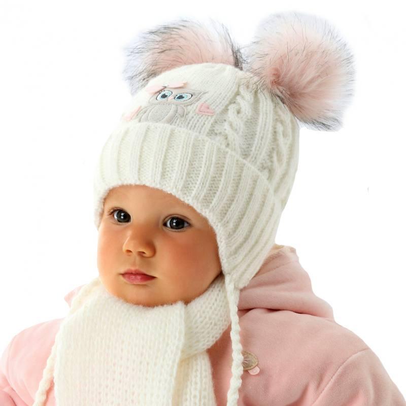 1a715cbeb8 AJS Baby Mädchen Winterset Wintermütze Strickmütze Schal 2 Bommel Eule mit  Wolle
