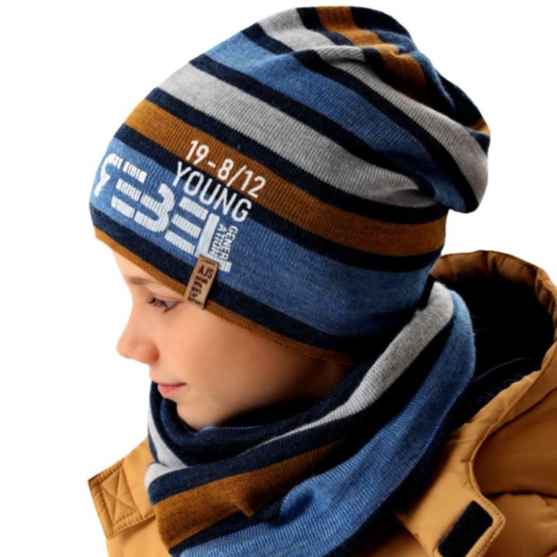 AJS Jungen Winterset Set Kindermütze Wintermütze Bommelmütze Schal mit Wolle