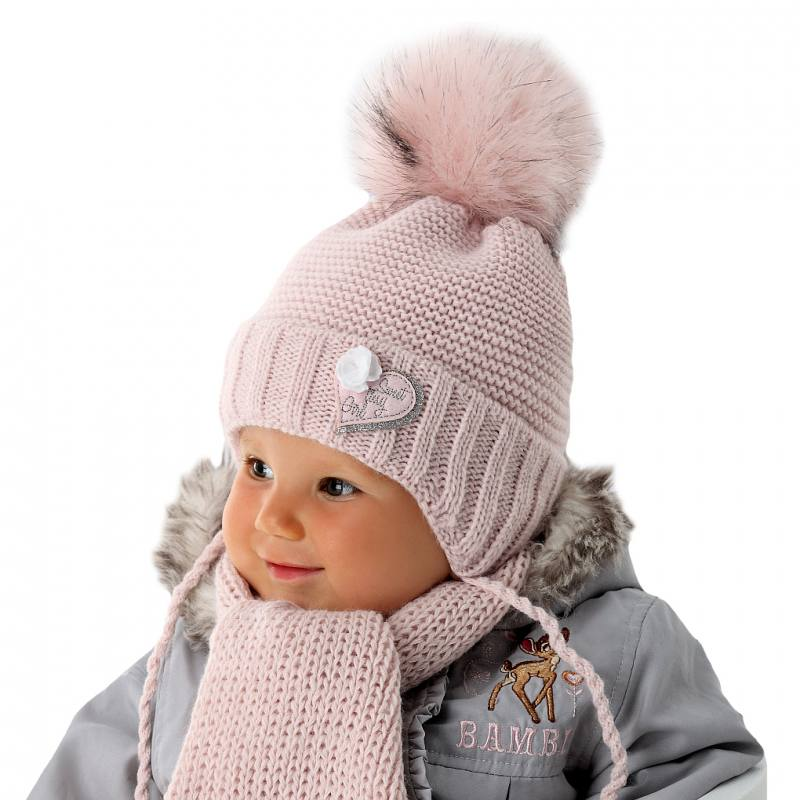 AJS Baby Jungen Kinder Set Winterset Wintermütze Strickmütze Halstuch mit Wolle