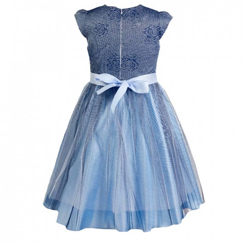 Mädchen Kleid Festlich Einschulung Hochzeit Tüll Blau