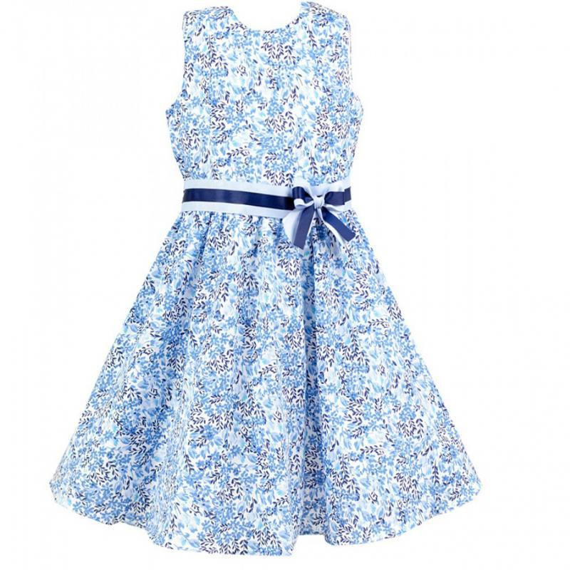 d6c23b27e036 Details zu AL-DA Mädchen Kleid Festlich Einschulung Party Hochzeit Blumen  Schleife Blau