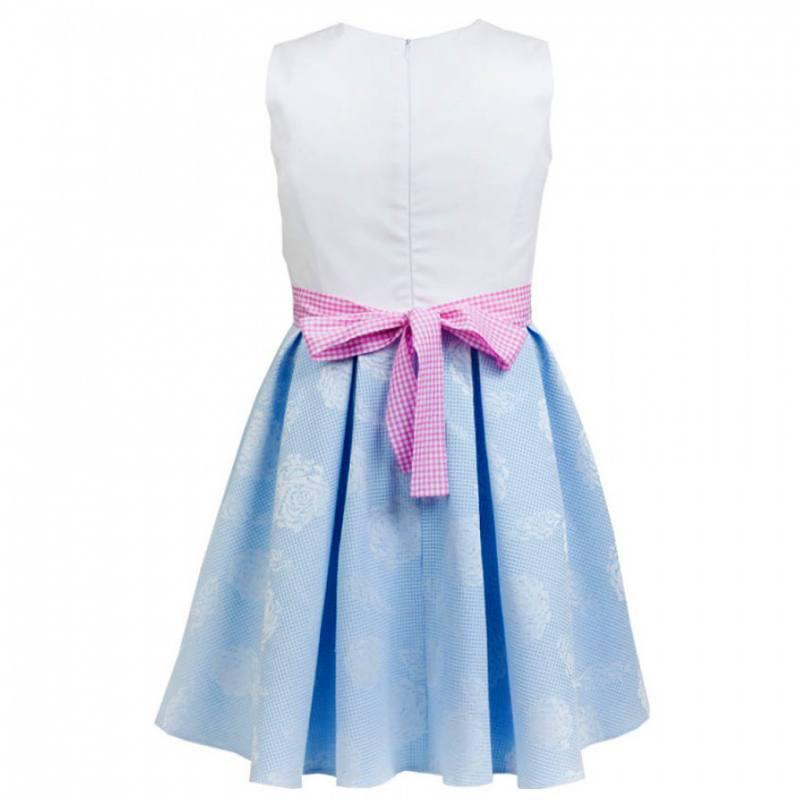 Mädchen Kleid Festlich Hochzeit Einschulung Weiß Blau