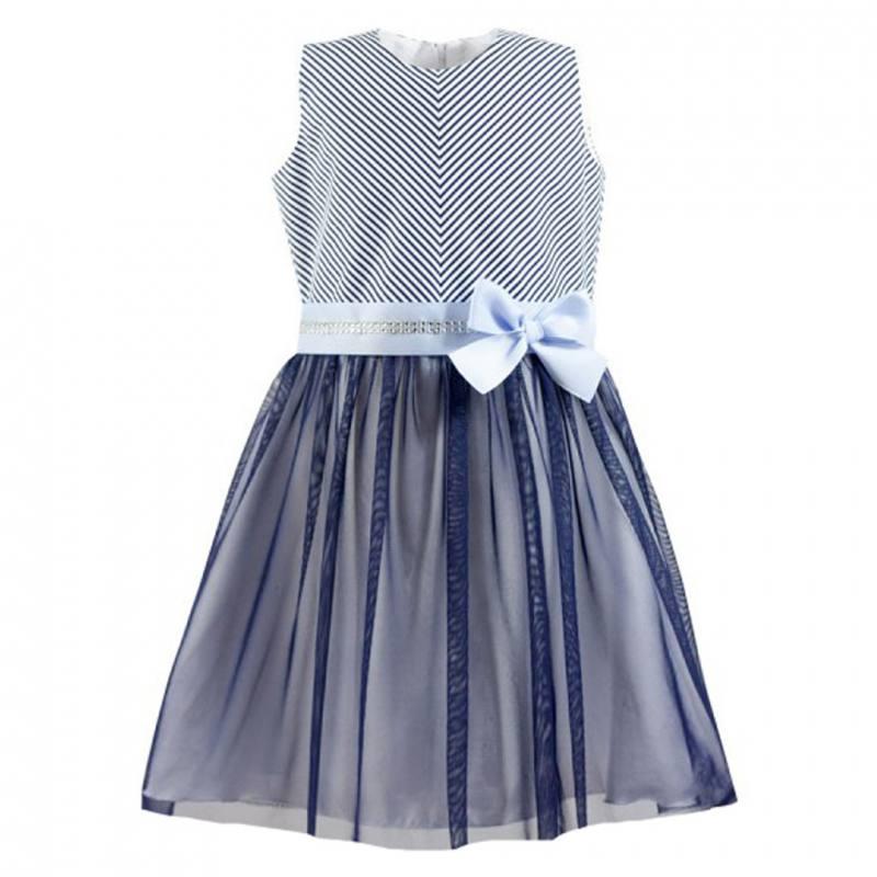 Mädchen Kleid Festlich Einschulung Hochzeit Blau tüll