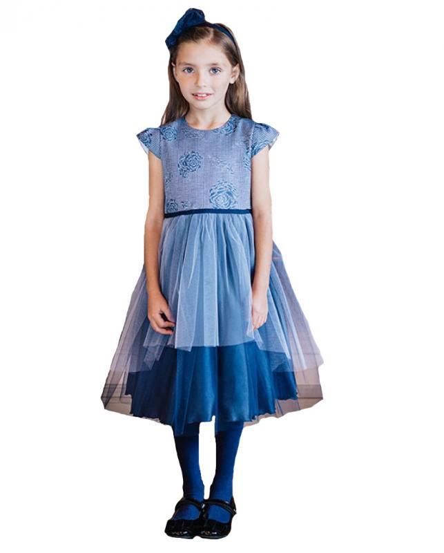 67c345d7005b AL-DA Mädchen Kleid Festlich Party Einschulung Hochzeit Tüll Blau