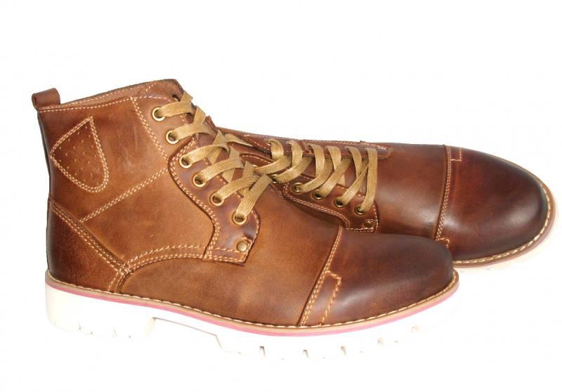 be9705b3050fea American Club Herren Schuhe Boots Stiefeletten Herrenschuh Leder Braun