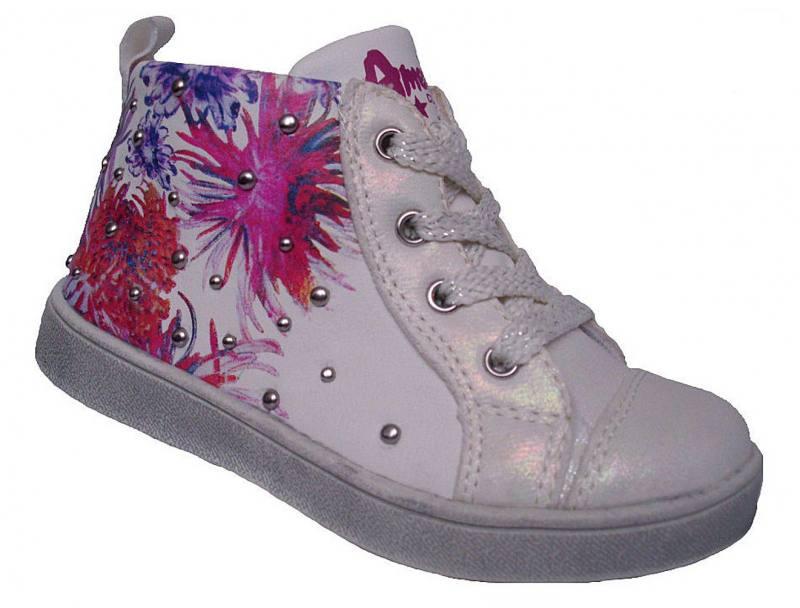 American Club Mädchen Kinderschuhe Halbschuhe Schnürschuhe Sneaker Blumen Bunt