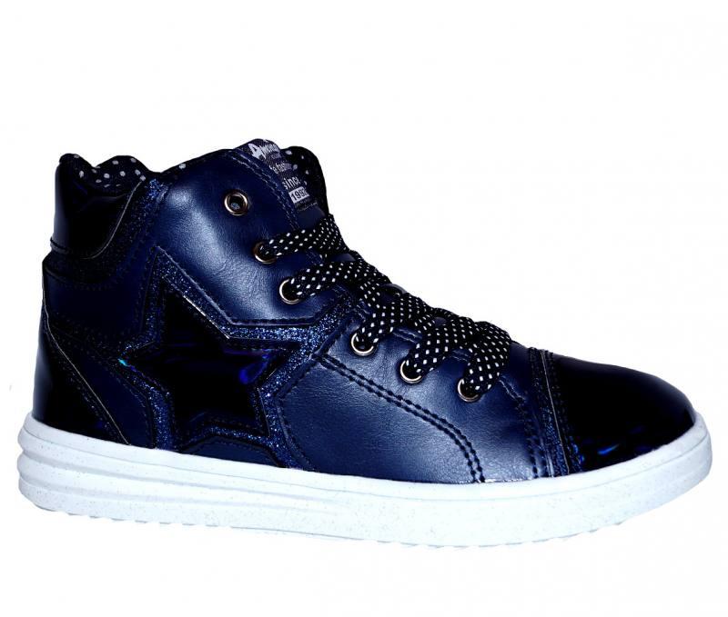 9292a1e7c2 American Club Mädchen Kinderschuhe Sneaker Knöchelschuhe Freizetschuhe Blau