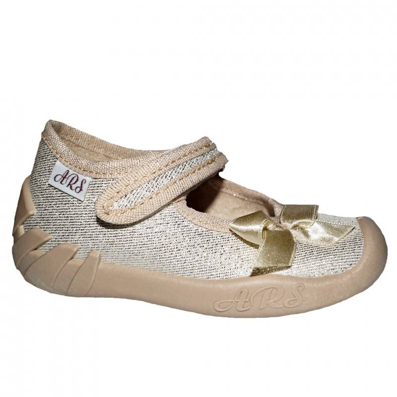 big sale 7ec92 f32b0 ARS Baby Mädchen Kinder Schuhe Hausschuhe Kinderschuhe Ballerinas  Klettverschluss Gold