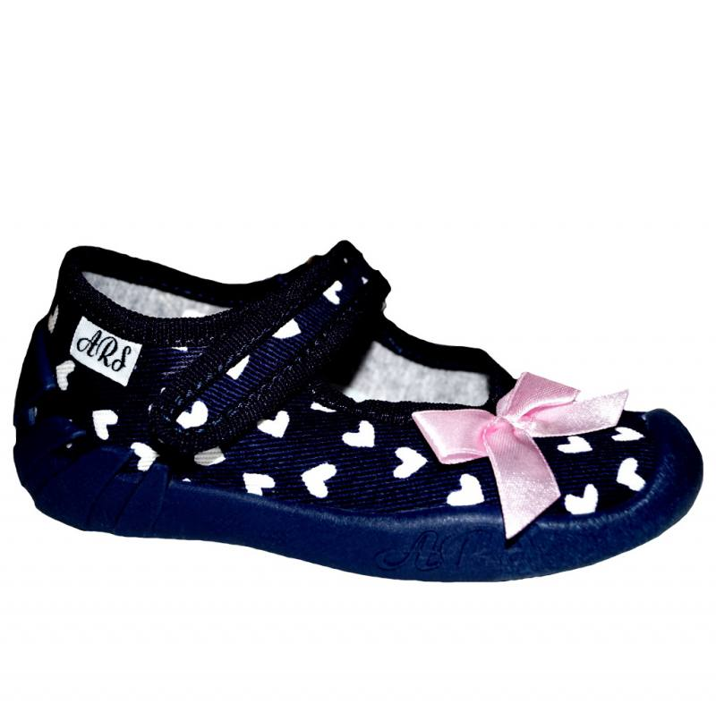 ARS Baby Mädchen Schuhe Hausschuhe Kinderschuhe Textilschuhe Klettverschluss Herz Blau Navy