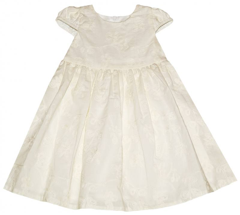 Hochzeit Ecru Festlich Taufe Baby Kleid Bestickt Baumwolle