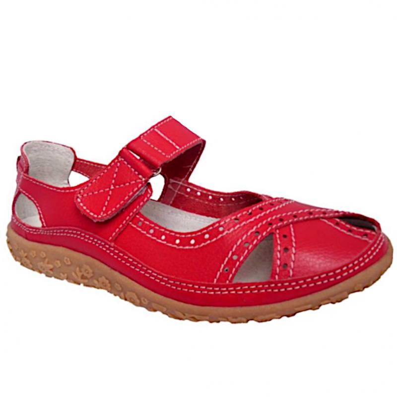 05588703168a73 Damen Halbschuhe Sandalen Slipper Klettverschluss Leder Rot
