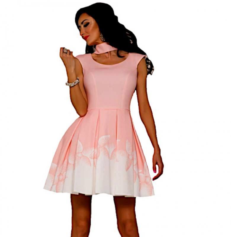 besserer Preis wähle authentisch schön billig Damen Kleid Festlich Hochzeit Brautjungfern Abendkleid Jugendweihe  Kellerfalten Lachs