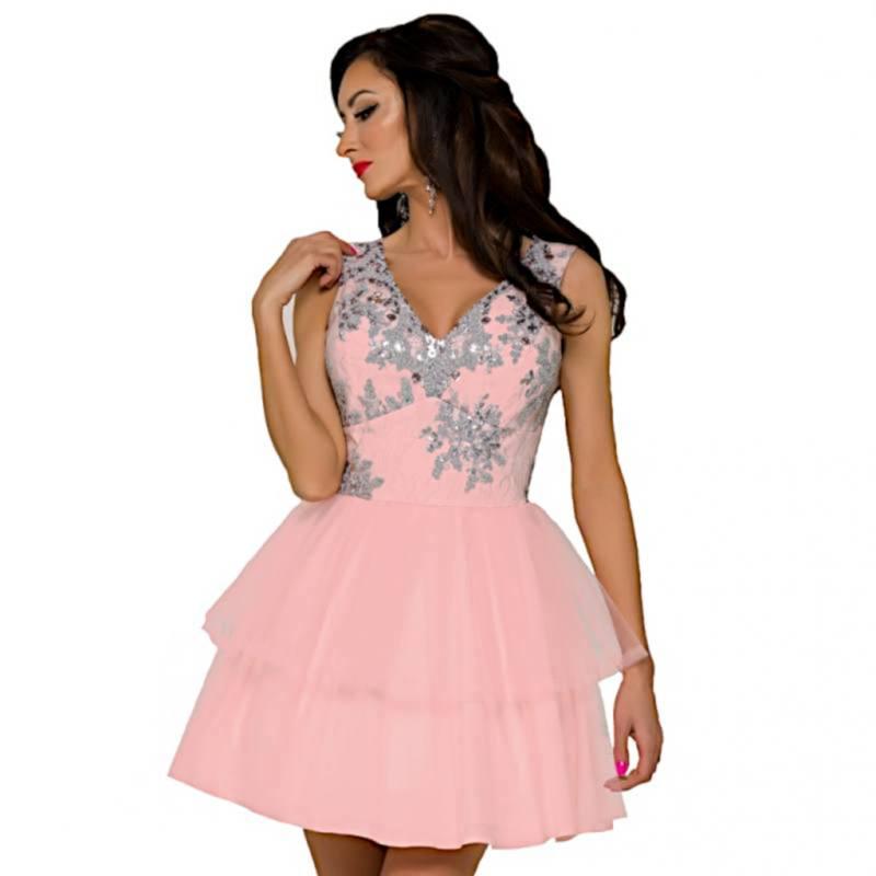 schöner Stil Online-Verkauf zuverlässigste Damen Kleid Festlich Hochzeit Brautjungfern Party Jugendweihe Spitze Tüll  Rosa