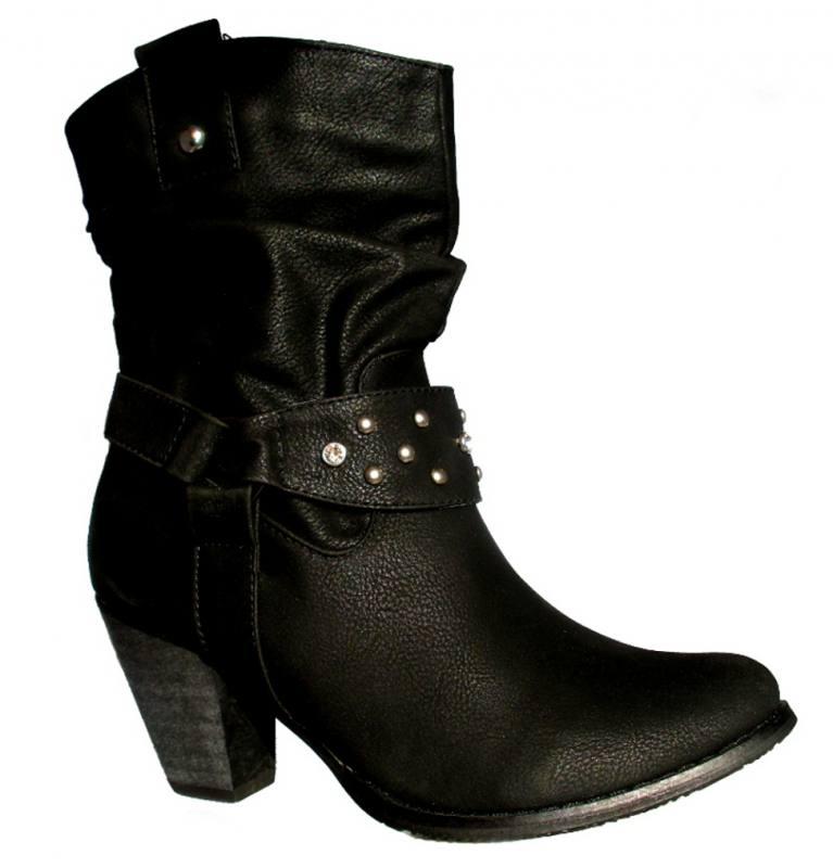 hot sale online a1f80 bb5ba Damen Stiefeletten Stiefel Cowboystiefel Herbst Winter Schuhe Schwarz
