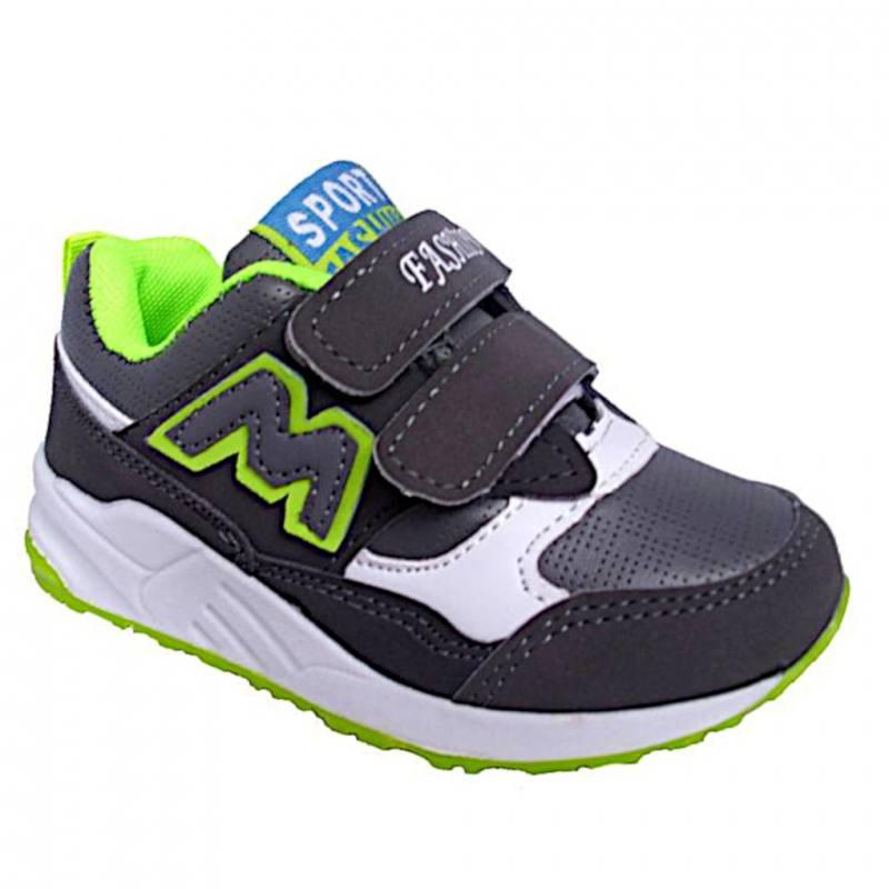 632de55b5f Jungen Freizeitschuhe Sneaker Kinderschuhe Klettverschluss Grau Grün