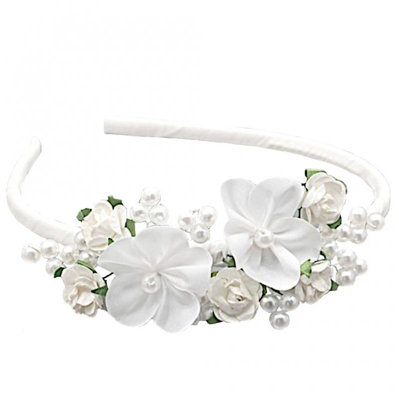 207afa1227ccf6 Mädchen Haarreifen Haarschmuck Kopfschmuck Hochzeit Blumenmädchen Blumen  Weiß