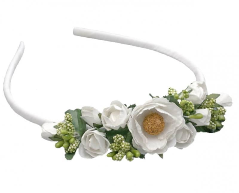 Blumen Haarreif Haarschmuck Blüten Weiß Hochzeit Haarreifen Blumenmädchen Flower