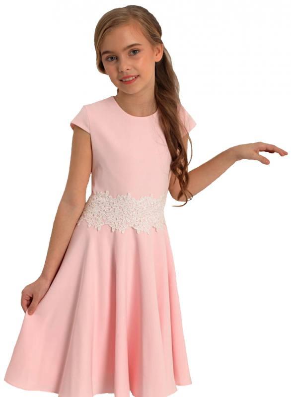 sports shoes 5905e 5a6ee Mädchen Kleid Festlich Einschulung Blumenmädchen Hochzeit Kommunion Spitze  Rosa Weiß