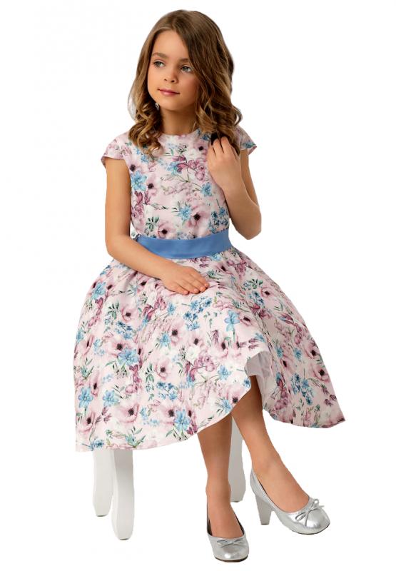 Mädchen Kleid festlich Einschulung Blumenmädchen blau