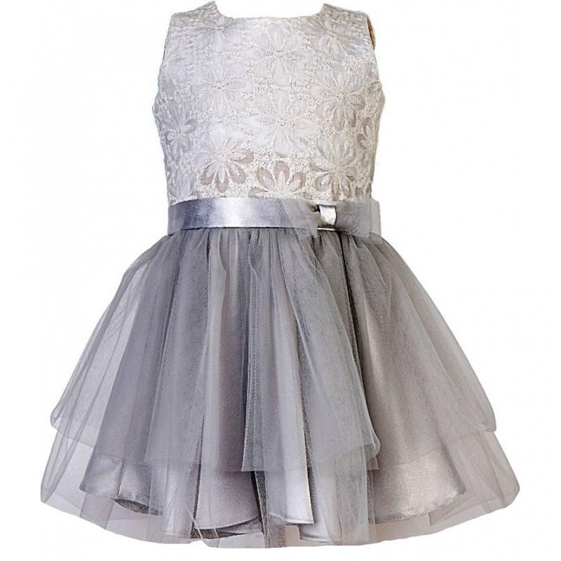Details zu Neu Mädchen Kleid Festlich Einschulung Hochzeit Jugendweihe mit Seide Tüll Grau