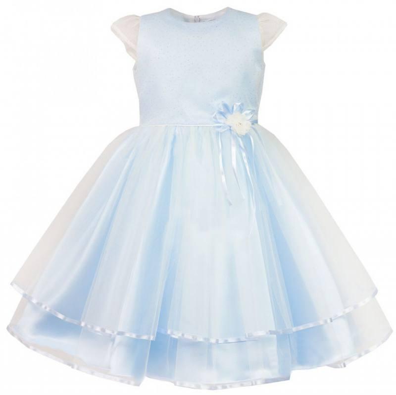 Mädchen Kleid Festlich Hochzeit Blumenmädchen Taufe Brokat Tüll Blau ...
