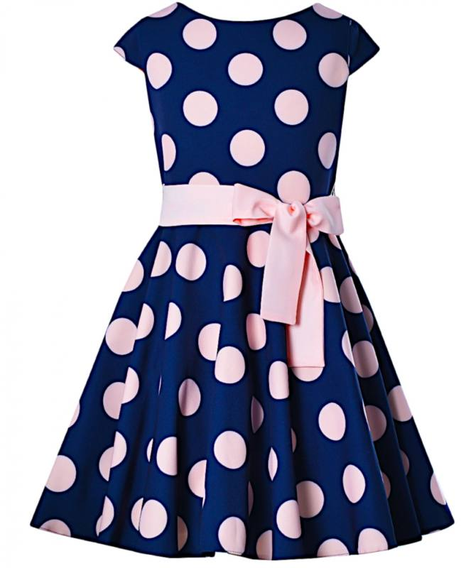 375908241f6 Mädchen Kleid Festlich Party Einschulung Hochzeit Blumenmädchen Punkte blau  rosa
