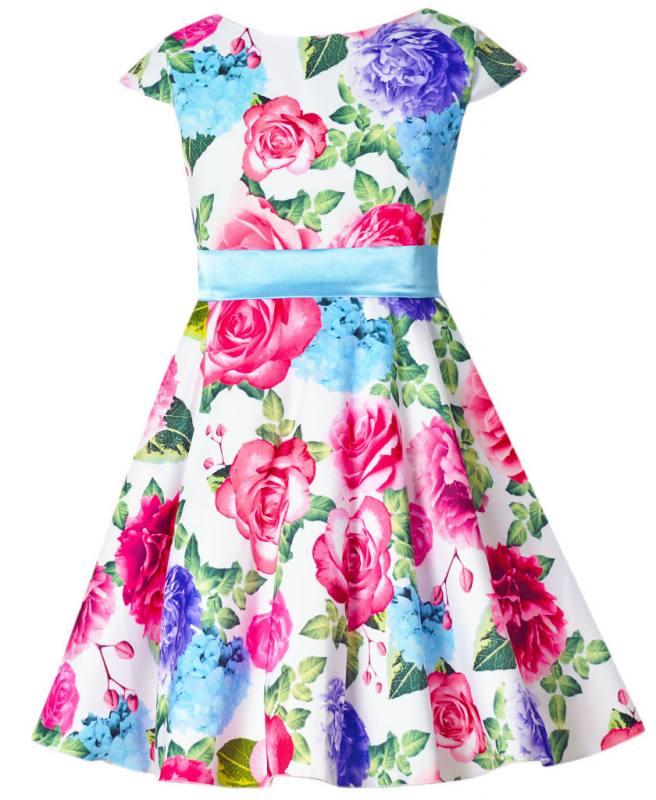 Madchen Kleid Party Festlich Einschulung Hochzeit Blumen Rosen