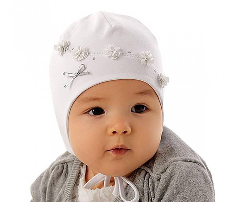 UK Verfügbarkeit weltweit verkauft seriöse Seite Marika Baby Mädchen Frühling Mütze Taufe Blumen Baumwolle Schleife Weiß