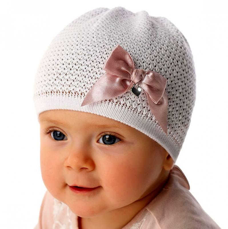 Marika Baby Mädchen Mütze Strickmütze Festlich Taufe Schleife Weiß
