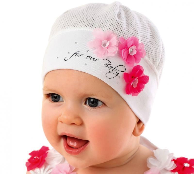 Marika Süsse Baby Mädchen Sommer Mütze 3 Blumen Baumwolle Weiß Rosa Rot