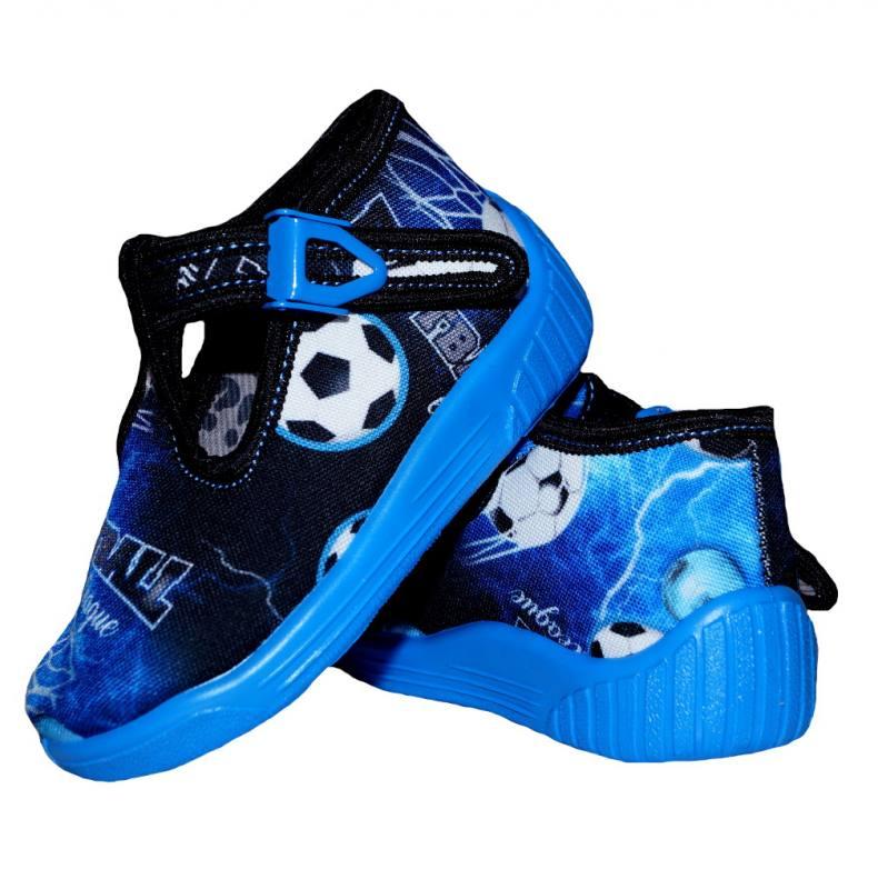 Baby Jungen Hausschuhe Kinderschuhe Kindergarten Einlegesohle Leder Fußball Blau