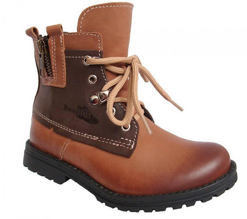 Renbut Jungen Mädchen Kinder Stiefel Boots Herbst Winterschuhe Leder Braun