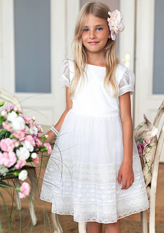 Mädchen Kleid Party Einschulung Hochzeit Spitze weiß