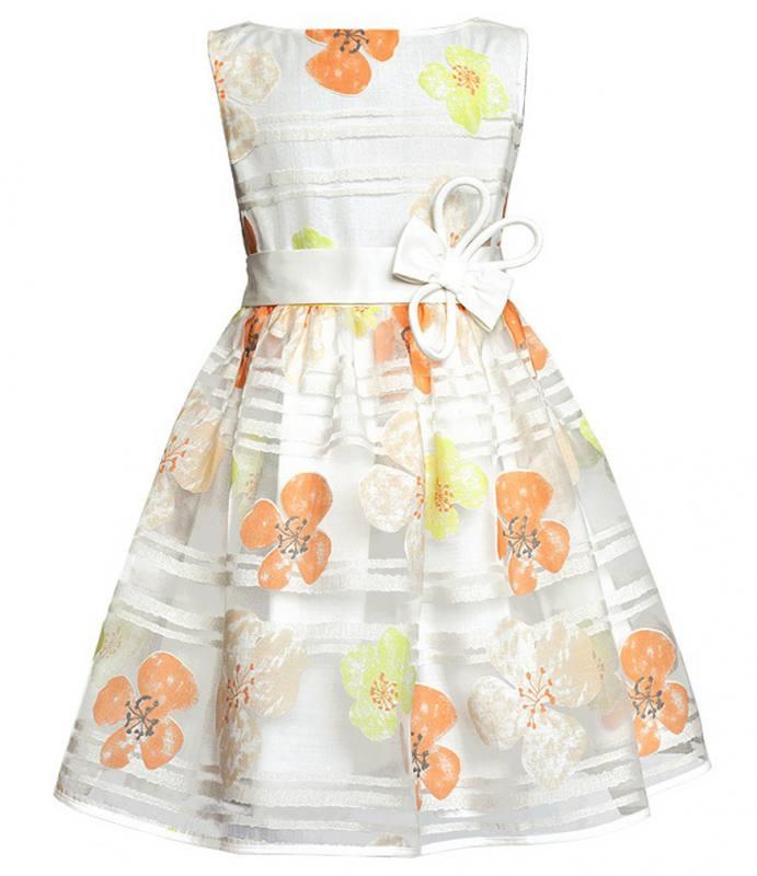 Sly Mädchen Kleid Festlich Hochzeit Einschulung Blumen Weiß