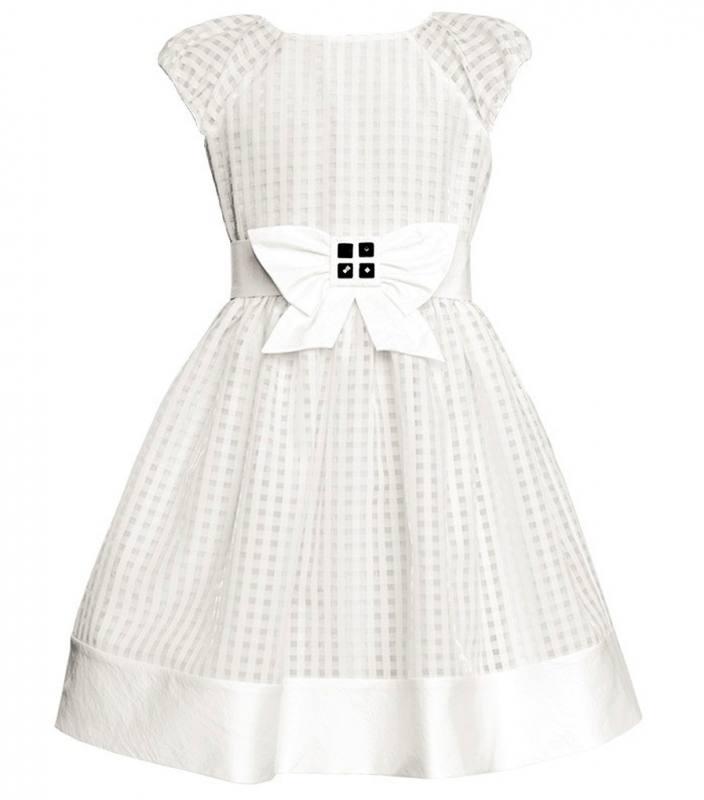 Sly Mädchen Kleid Festlich Hochzeit Einschulung Schleife Weiß