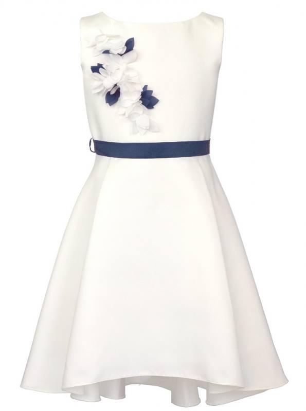 Mädchen Kleid Festlich Hochzeit Jugendweihe Weiß Blau