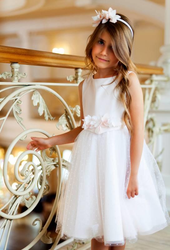 Mädchen Kleid Festlich Hochzeit Kommunion Tüll Weiß